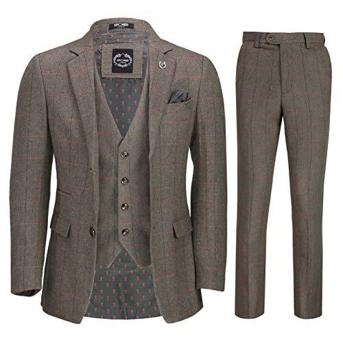 Mens 3 Piece Tweed Suit Retro Herringbone Check Jacket Waistcoat Trousers [SUIT-X3309-3-MARL-54]