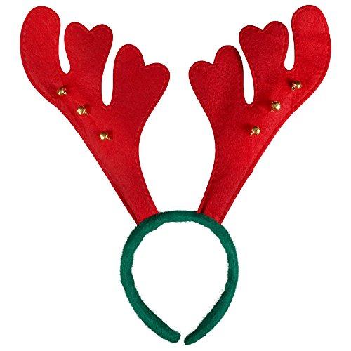 Kascha Gorros de Navidad – Gran selección – Gorro de Papá Noel Diadema con cuernos de alce, cuernos de reno y campanas rojas y verdes. Talla única