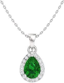 FB Jewels Solid 10k Yellow Gold Genuine Birthstone Oval Gemstone And Diamond Teardrop Pendant 0.36 Cttw.