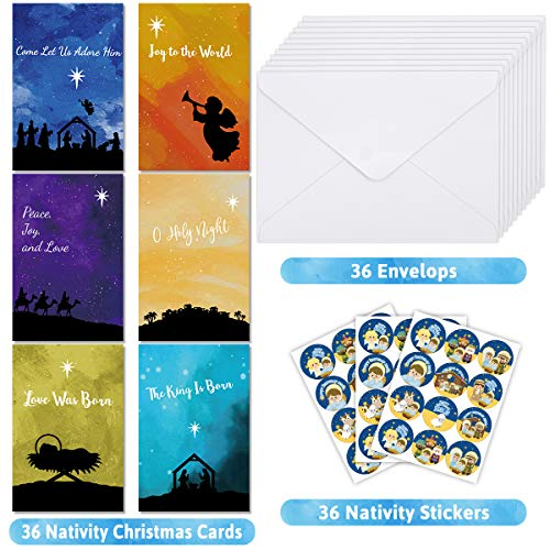 Nativity Greeting Cards with Envelopes Religious Christmas Cards for Christmas Holiday Blank Inside 36Pcs