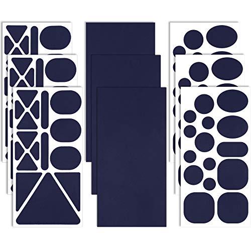 9 Blatt Nylon Reparatur Flicken Selbstklebender Patch Verschiedene Größen und Formen Kleidung Patch Stoff Kleidung Reparatur Patch für Daunenjacke, Zeltkleidung, Tasche (Dunkelblau)