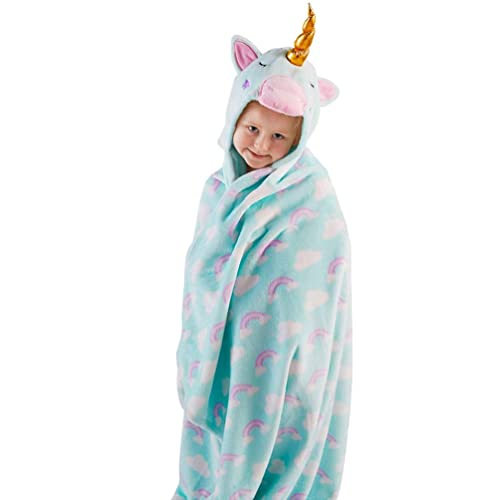 Snuggle Up Girls Hooded Supersoft Fleece Blanket - Unicorn 03149413f