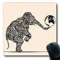 マウスパッド長方形7.9x9.8インチ遊び心ブルーム象遊ぶ地球自然植物花植物学大陸エンブレムフラッピングデザインマウスパッド滑り止めラバーノートブックラップトップPCコンピューター
