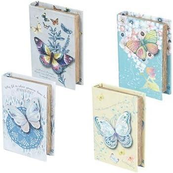 CAPRILO Set de 2 Cajas Libro Decorativas de Madera Romántico ...