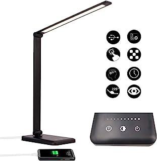 Lámpara Escritorio LED, Lámparas de Mesa USB Recargable con Temporizador, Plegable Luz con 5 Modos &5 Niveles de Brillo, L...