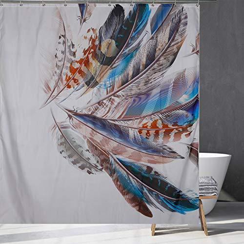 Farbige Feder Duschvorhang Künstlerische abstrakte Feder Muster Badezimmer Duschvorhang 12 Haken, Duschraum, Badewanne Dekor (150x180cm/180x180cm) (150x180cm)