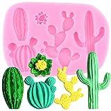 FGHHT Moldes de Silicona para Plantas de Cactus, Molde para Fondant, Herramientas para Decorar Pasteles, Galletas para Hornear, Dulces, Arcilla, moldes para Pasta de Goma y Chocolate