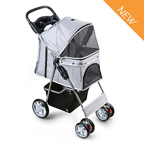 PetsN'll Pet Stroller Dog Pushchair, Light weight stainless frame pet travel carrier, Big Wheel with...