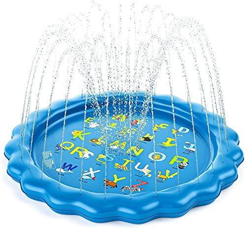 Guffo Splash Pad, 172cm Tapete de Agua Chapoteo, Almohadilla Aspersor, Tapete de Aprendizaje para Salpicar con Rociadores para Niños, Juguetes de Agua Verano para Piscina Jardín Play