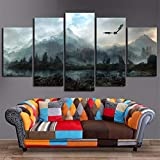 JESC 5 Piece Wall Art Picture Dragon Sky Painting Mural on Canvas for Living Room Decor Solid Wood Inner Frame Lightweight and Easy to Put Up (W) 60''x32'' (H)