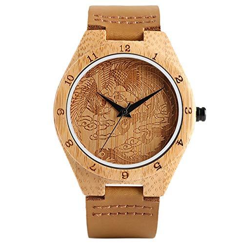 RWJFH Reloj de Madera Reloj para Hombre de bambú de Phoenix Tallado Creativo 100% Reloj de Cuarzo con número árabe de Madera Original Brazalete Masculino Regalo Deportivo, Banda marrón