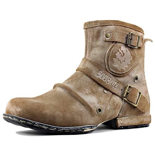 Botas Chukka de Moda con Cremallera para Hombre Botas Moto de Piel Genuina Botines de caña Alta Calzado Casual otoño e Invierno 5008-1-Buckle