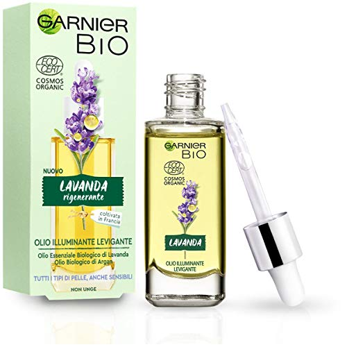 Garnier Bio, Olio Viso Illuminante Levigante, Olio Essenziale di Lavanda Bio e Olio D'Argan Bio, Adatto a Tutti i Tipi di Pelle, Anche Quelle Sensibili, 30 ml