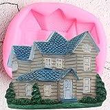 QMGLBG DIY Baby Party Herramientas de decoración de Pasteles Casa Molde de Silicona Villa Cupcake Topper Fondant Molde Candy Clay Chocolate Gumpaste Moldes