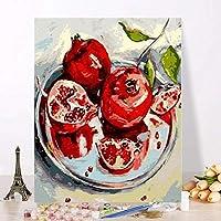 フレームレスの写真数字で描くDIY油絵リビングルームの家の装飾現代の抽象的な油絵赤いザクロ40x50cm