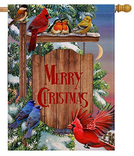 Selmad Merry Christmas 28 x 40 Cardinal House Flag Winter Red Bird Double Sided, Xmas Rustic Quote...