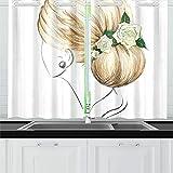 Zemivs Mujer Joven Pelo Rubio Moda Cortinas de Cocina Cortinas de Ventana Niveles para café Baño Lavandería Sala de Estar Dormitorio 26x39 Pulgadas 2 Piezas