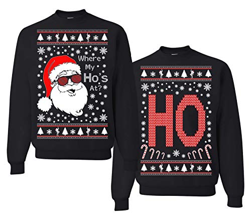 Tutiinca Where My Ho's at, Christmas Couples Sweaters, Ugly Christmas Sweatshirt, Funny Christmas Matching Sweatshirt (Man M - Women M) Black