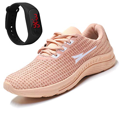 Tenis Feminino Casual Academia Caminhada Corrida + Relogio Cor:Rosa;Tamanho:36