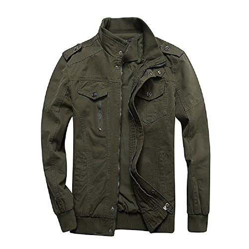 Dwar Men's Casual Long Sleeve Full Zip Jacket with Shoulder Straps Army Green