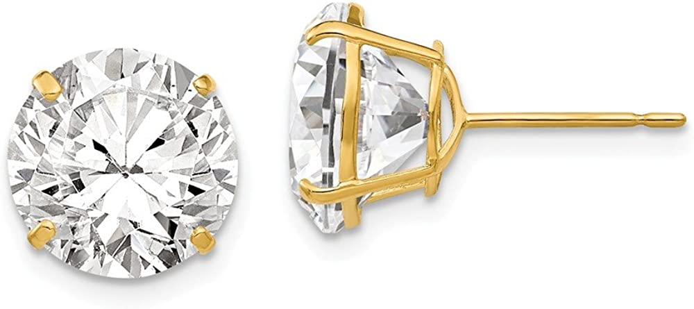 Solid 14k Yellow Gold 10mm Round CZ Cubic Zirconia Post Studs Earrings 11mm