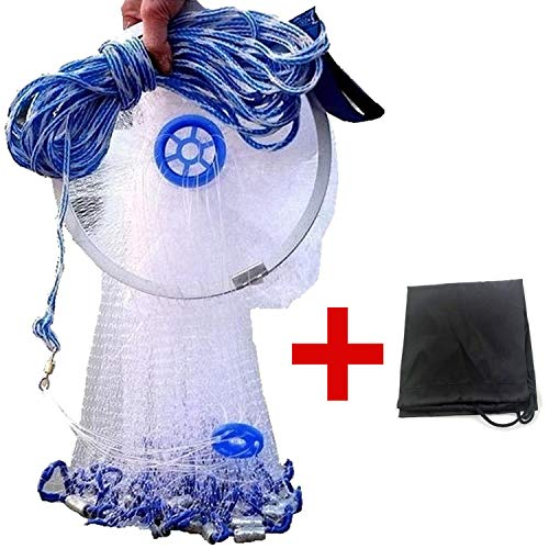 EASY BIG American Fishing Cast Net with Aluminum Frisbee for Bait Trap Fish Dia:7.8ft/9.8ft/11.8ft/13.7ft, 0.8inch Mesh Size (Dia: 7.8FT (Metal Lead))
