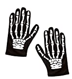 shoperama Guantes de esqueleto para niños, color negro, manos, dedos, huesos, Halloween, terror