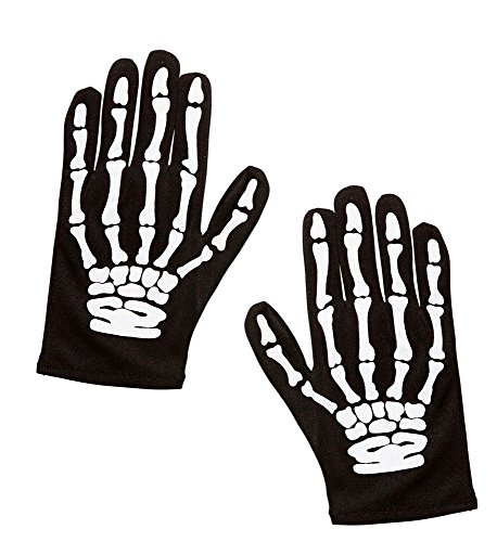 shoperama Kinder Skelett Handschuhe Schwarz Hände Finger Knochen Halloween Horror Kostüm-Zubehör
