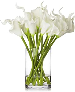 Enova Home 20 Pieces Artificial Real Touch Lilies Flower Arrangement in Glass Vase with Faux Water for Home Decoration (White)