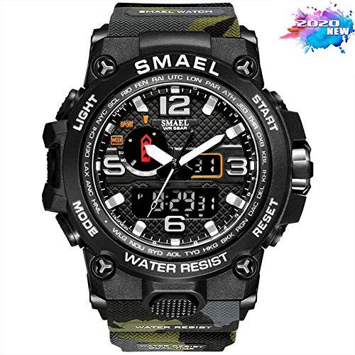 SMAELBand Männer Military Watch 50m Wasserdicht Armbanduhr LED Quarz Uhr Sport Uhr Männer S Shock 1545,Camo Army Green
