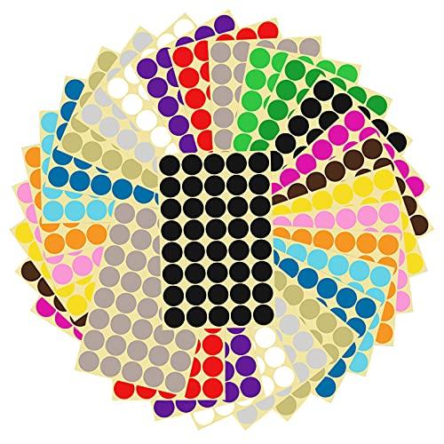 Etichette Adesive Colorate Scrivibili, Etichette Autoadesive 16 Colori, Adesivi Colorati Rotondi, Bollini Adesivi Rotondi, Etichette di Codifica a Colori Rotonde per Forniture per Ufficio a Casa