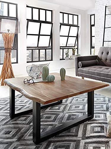 SAM Couchtisch 120x80 cm Ida, echte Baumkante, massiver Sofatisch aus Akazienholz, Metallbeine schwarz, Baumkantentisch