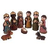 Belén de Navidad con Nacimiento y 9 Figuras Infantil de Resina de 11 cm - LOLAhome