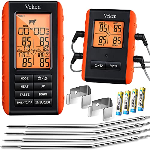 Veken Wireless Meat Thermometer, 4 Probes Grill Thermometer for BBQ Smoker Oven, Digital Cooking...