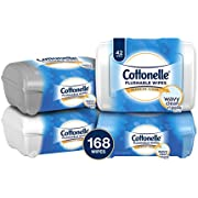 Cottonelle FreshCare Flushable Wipes Refill Tub, 42 Flushable Wet Wipes, Pack of 4