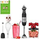 Immersion Hand Blender Handheld, COLAZE【5-in-1】800W 12 Speed Control Multifunctional Electric Stick Blender with Stainless Steel Blades, 500ml Chopper, 600ml Container, Egg Whisk, Milk Frother