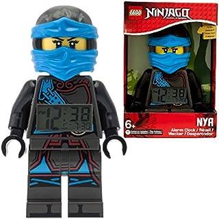 Despertador con luz infantil con figurita de Nya de LEGO Ninjago Hands of Time; azul/negro; plástico; 24 cm de altura; Pantalla LCD; chico chica; oficial