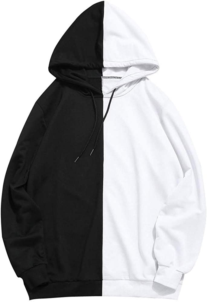 Cookinty Hoodies for Men Stitching Color Athletic Long Sleeve Sweatshirt Pullover Drawstring Cookinty Hoodies for Men