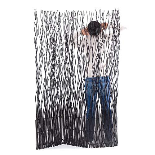 DESIGN DELIGHTS Weiden RAUMTEILER Wave 3   183x120 cm (HxB), Weidenholz   3-teilige Trennwand, Paravent, Zweig Raumtrenner   Farbe: schwarz