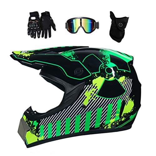 Motocross Helm mit Brille, Adult Off Road Motorradhelm Crosshelm Set Handschuhe Maske, Unisex Fullface Cross Helm Downhill Quad Enduro ATV Motorrad Schutzhelm für Herren Damen, Grün,M