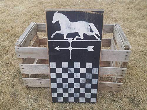 HRHREU Primitive Gameboard Pferd Wetterfahne rustikales Holz Schachbrett Primitive Wanddekoration Spielbrett Display Primitive Americana koloniale