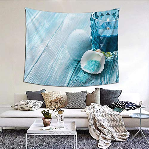 Tapestry,Bath Bombs Closeup With Blue Lit Candle Tapestry Wall Hanging as Wall Art and Home Decor for Bedroom,Living Room,Dorm Decor for Birthday 203cmx152cm