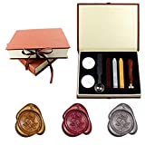 Yuccer Timbro Ceralacca, Vintage Seal Wax Kit Sigillo Ceralacca Stick di Cera with Gift Box (B Rose)