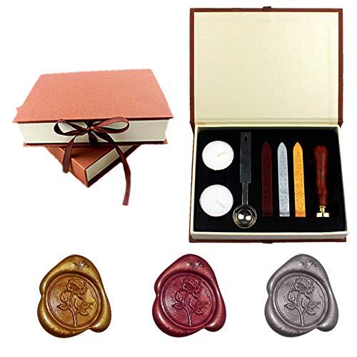 Yuccer Siegelstempel Set, Retro Wax Wachs Siegel Stempel Kit Seal Wax kit Mit Gold Rot Silber Haftet Löffel Kerzen Geschenk Box Siegel-Sets (B Rose)