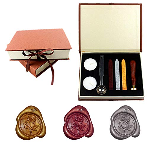 Yuccer Siegelstempel Set, Retro Wax Wachs Siegel Stempel Kit Seal Wax kit Mit Gold Rot Silber Haftet Löffel Kerzen Geschenk Box Siegel-Sets (B Rose)