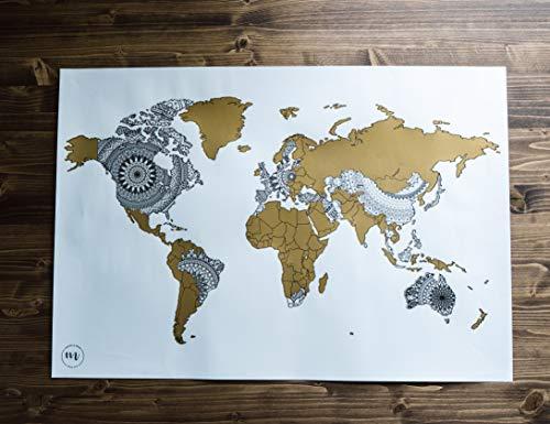 Mapa mundi rascar en diseño mandala blanco y dorado - Mandala Maps - Mapa para marcar viajes - Mapa rascar
