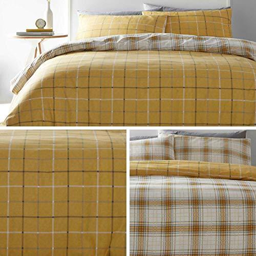 Portfolio Skye Check - Juego de Funda nórdica y Funda de Almohada para Cama Individual, Color marrón