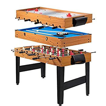 Giantex Multi Game Table 3-in-1 48  Combo Game Table w/ Soccer Billiard Slide Hockey Wood Foosball Table Perfect for Game Rooms Arcades Bars Parties Family Night