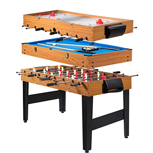 Giantex Multi Game Table, 3-in-1 48' Combo Game Table w/ Soccer, Billiard, Slide Hockey, Wood Foosball Table, Perfect for Game Rooms,...
