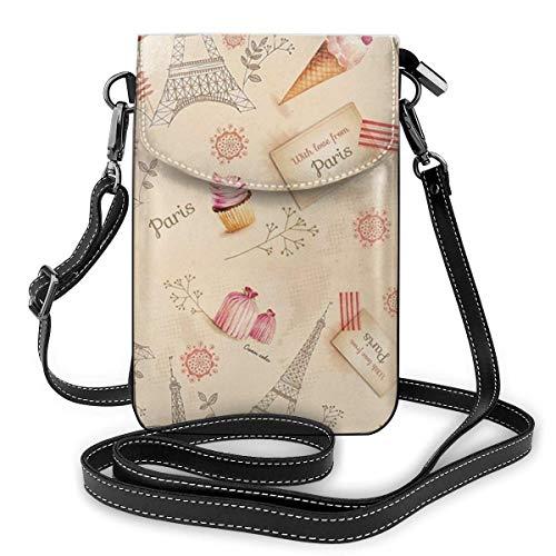 AOOEDM Small Cell Phone Purse - Bolso bandolera pequeño para teléfono móvil a la moda, París, Torre Eiffel, monedero para teléfono celular, billetera, ligero, espacioso, con bolsillos, para teléfono